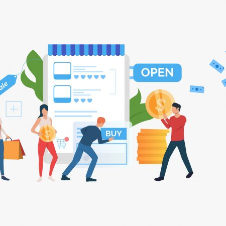 Bright sale presentation slide template. People standing in front of supermarket. Vector illustration can be used for topics like sale, shopping, promotion
